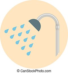 colorido, plano, diseño, showerhead, icon., vector