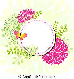 colorido, primavera, flores, tarjeta de felicitación