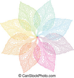 colorido, primavera, hojas, vector