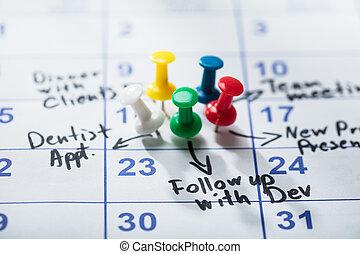 colorido, pushpins, pegado, en, calendario