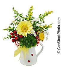 colorido, ramo, de, gerberas, en, florero, aislado, blanco, backgro