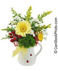 colorido, ramo, de, gerberas, en, florero, aislado, blanco, fondo., closeup.