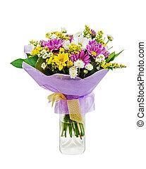 colorido, ramo, de, gerberas, en, florero de vidrio, aislado, blanco, b