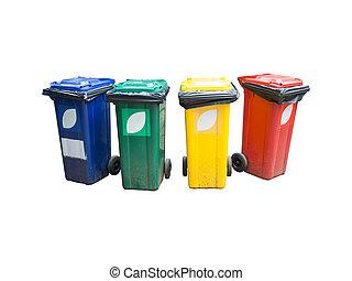 colorido, reciclar los compartimientos, aislado, encima, blanco, fondo.