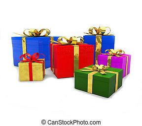 colorido, regalo de navidad, cajas