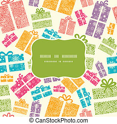 colorido, regalo, patrón, marco, seamless, cajas, plano de...