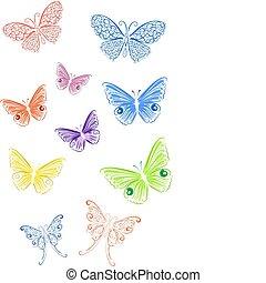 colorido, renda, borboleta