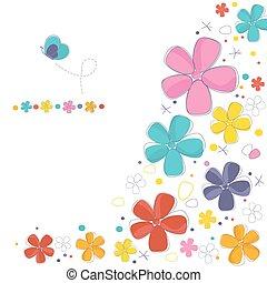 colorido, resumen, flores, plano de fondo, tarjeta de felicitación