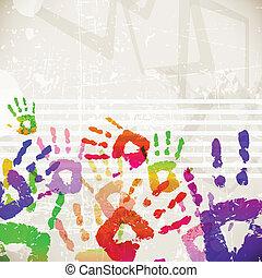 colorido, resumen, handprint, diseño, retro, plantilla