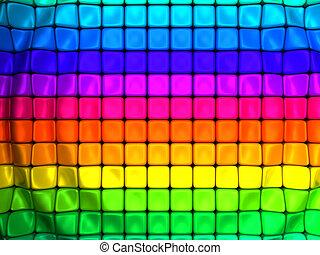 colorido, resumen, onda, cubo, plano de fondo