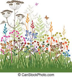 colorido, resumen, plantas, y, pasto o césped