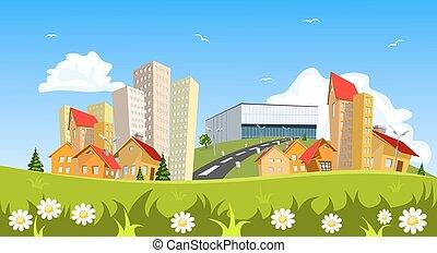 colorido, resumen, vector, ciudad