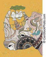 colorido, rinoceronte, adulto, página