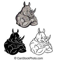 colorido, rinoceronte, libro, fuerte, caracter
