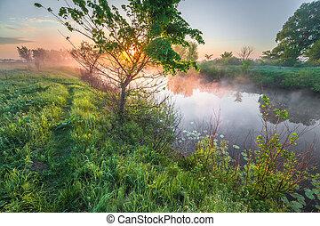 colorido, rio, pôr do sol