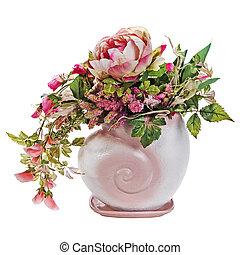 colorido, rosas, ramo, aislado, florero, fondo., peón, flores, blanco, closeup.