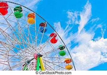 colorido, rueda de ferris, en, cielo azul, plano de fondo