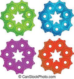 colorido, ruedas dentadas