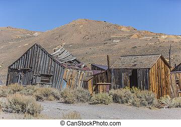 colorido, ruinas, de, pueblo fantasma, hogar