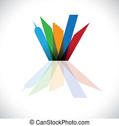 colorido, símbolo, comercial, vector, cityscape-, edificios