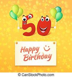 colorido, saludo, años, cumpleaños, feliz, tarjeta,  50