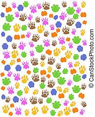 colorido, seamless, animales, huella