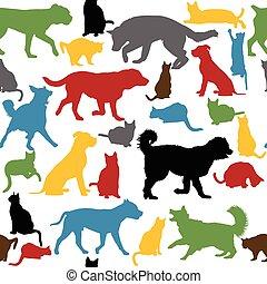 colorido, seamless, siluetas, gatos, plano de fondo, perros