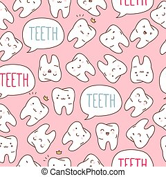 colorido, seamless, vector, pattern., illustration., dientes
