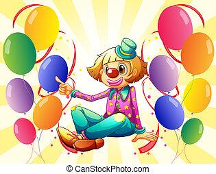 colorido, sentado, rodeado, payaso, hembra, globos
