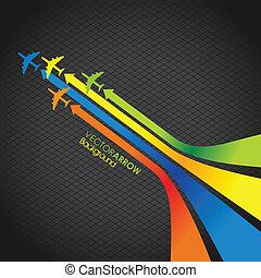 colorido, seta, e, avião, linha, costas