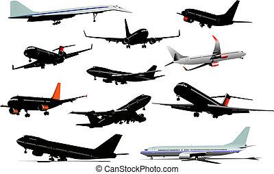 colorido, silhouettes., ilustração, onze, vetorial, avião