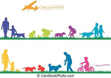 colorido, silhuetas, de, pessoas, e, animais