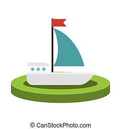 colorido, silueta, con, velero, encima, base
