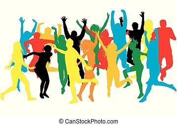 colorido, siluetas, de, el saltar de la gente