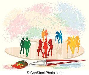 colorido, siluetas, de, gente