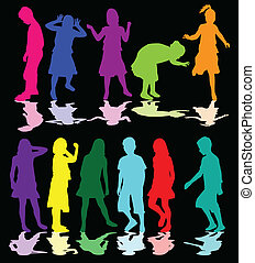 colorido, siluetas, de, niños