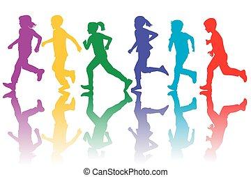 colorido, siluetas, de, niños que corren