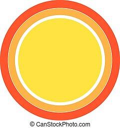 colorido, sol, vector, diseño, icon., element.