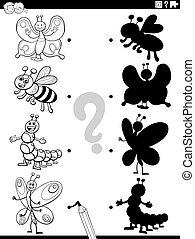 colorido, sombra, insectos, caricatura, tarea, página, libro