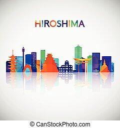 colorido, style., hiroshima, geométrico, silueta del ...