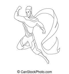 colorido, superhero, illustration., isolated., vector, libro...