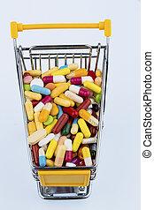 colorido, tabletas, en, carrito