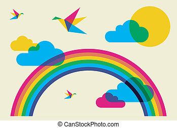 colorido, tarareo, aves, y, arco irirs