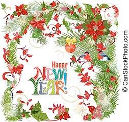 colorido, tarjeta de felicitación, con, invierno, patrón, y, aves, para, su, de