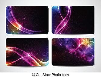 colorido, tarjetas comerciales, con, magia, luz, y, colores brillantes