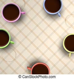 colorido, tazas, de, café