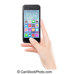 colorido, teléfono, móvil, arriba, aplicación, negro, cierre, elegante, icono