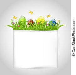 colorido, texto, huevos, papel, verde, pasto o césped,...