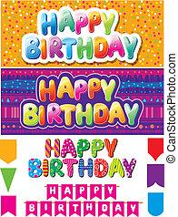 colorido, textos, feliz cumpleaños, conjunto