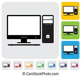 colorido, tiene, útil, simple, unidad central de procesamiento, computadora, vector, y, verde, escritorio, graphic., keyboard-, documentos, impresión, pantalla, iconos, fondos, naranja, azul, ilustración, blogs, sitios web, etc